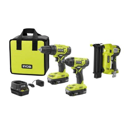 18-Volt ONE+ Lithium-Ion Cordless 3-Tool Combo Kit with Drill/Driver, Impact Driver, AirStrike 18-Gauge Brad Nailer