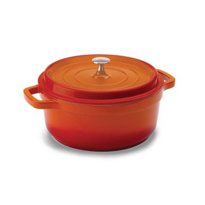 4 qt. Round Cast Aluminum Nonstick Dutch Oven in Orange with Lid