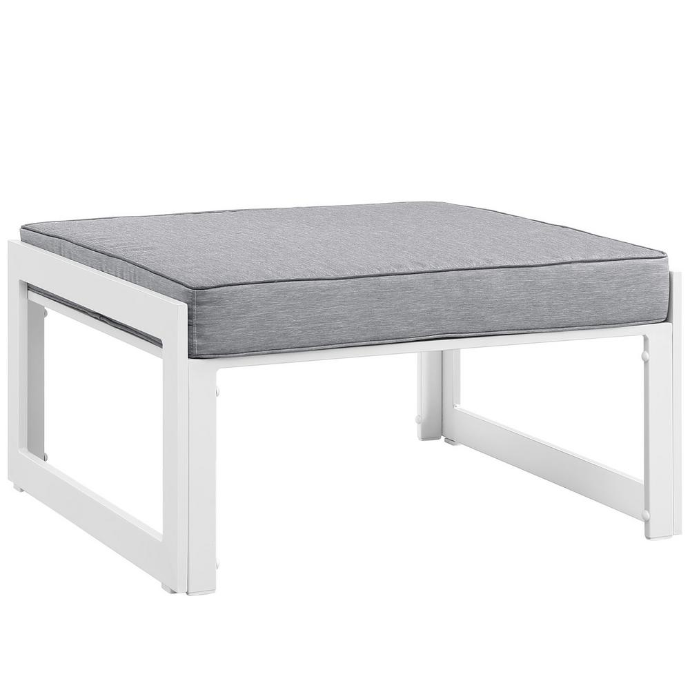 MODWAY Fortuna Aluminum Outdoor Patio Ottoman in White wi...
