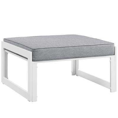 Fortuna Aluminum Outdoor Patio Ottoman in White with Gray Cushion