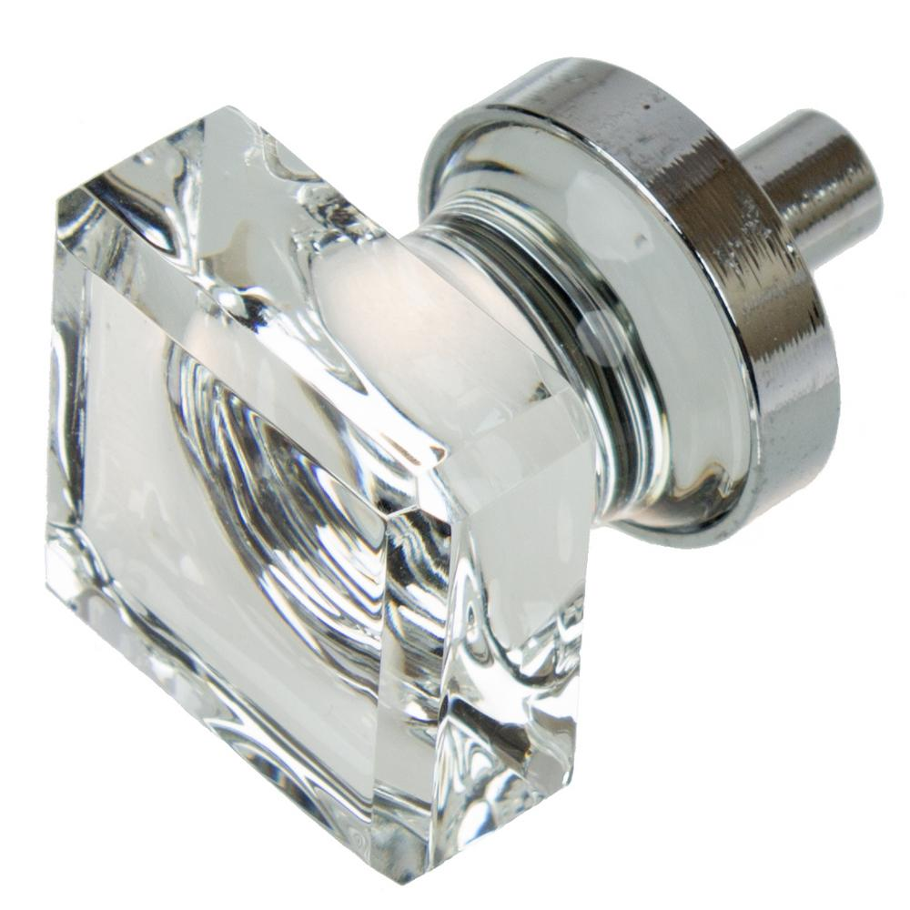 Gliderite 1 in polished chrome square glass cabinet knob for Square kitchen cabinet knobs