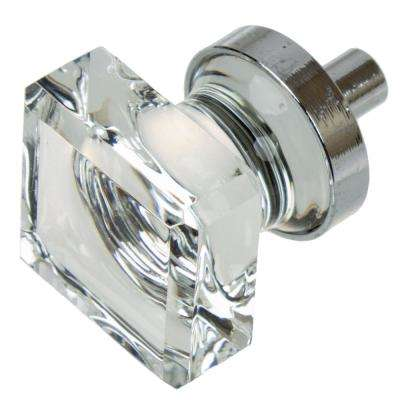 1 in. Polished Chrome Square Glass Cabinet Knob (10-Pack)
