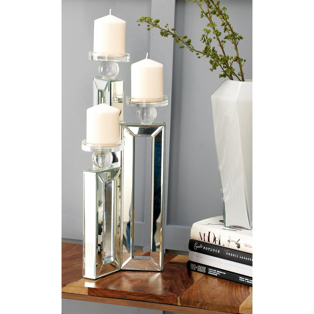 21 in. Clear Glass and Mirror Rectangular 3-Candle Holder