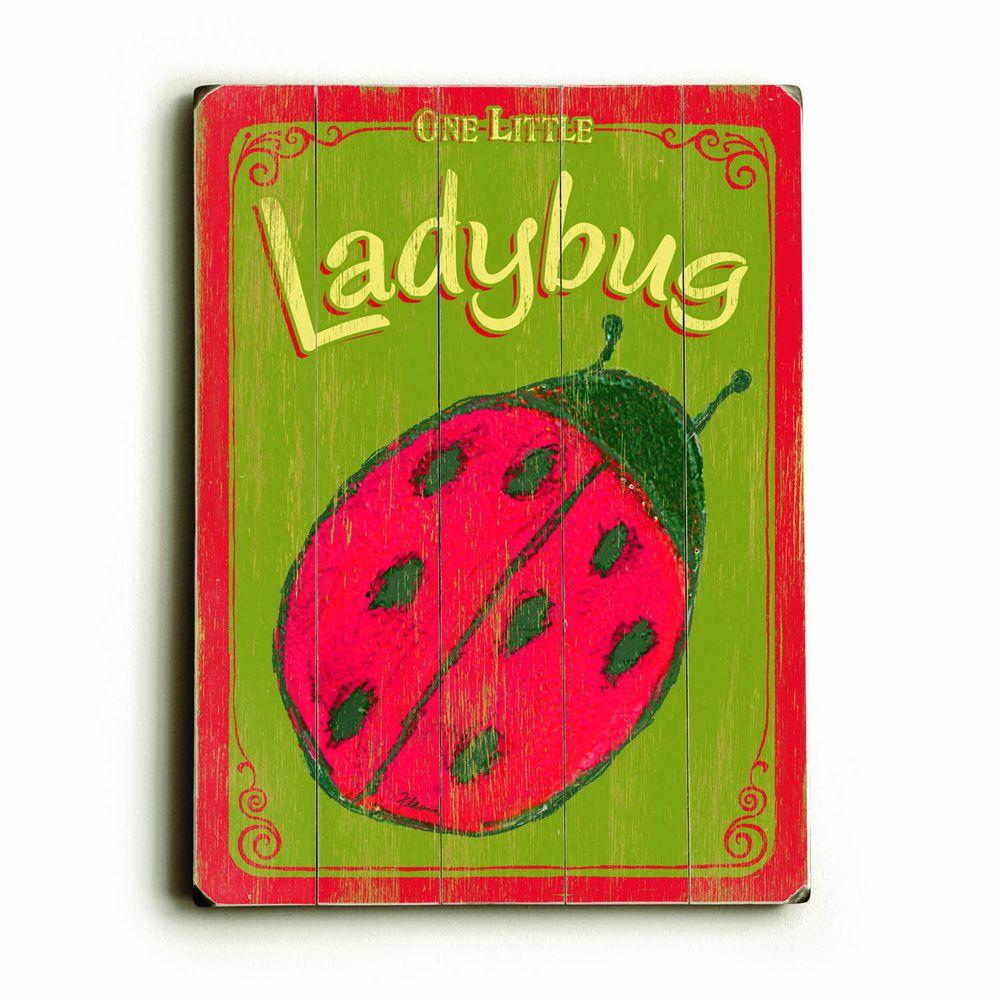ArteHouse 9 in. x 12 in. Lady Bug Vintage Wood Sign-DISCONTINUED