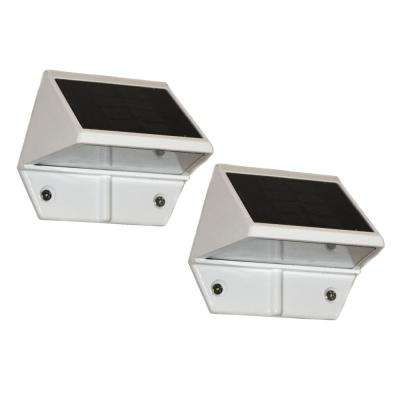 Solar 2-LED Outdoor White Integrated LED Deck and Wall Light (2-Pack)
