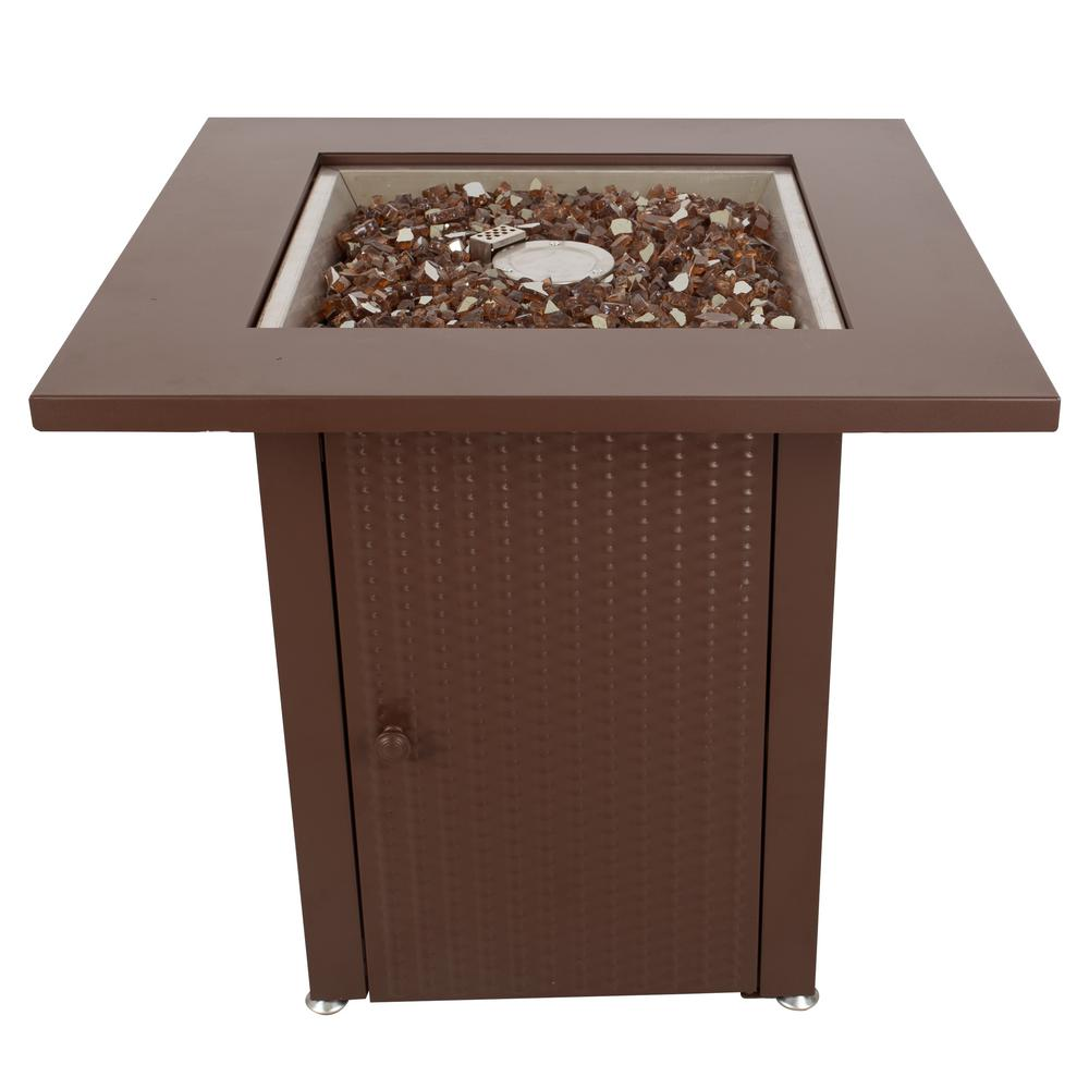 Pleasant Hearth Grant 28 in. x 26 in. Square Steel Propane Gas Fire Pit Table in Mocha with Glass Fire Rocks