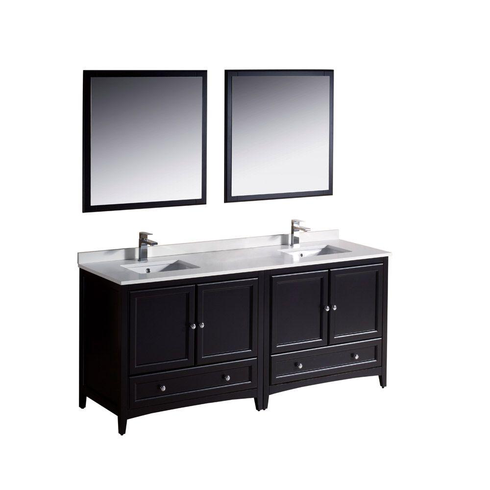 Fresca Oxford 72 in. Double Vanity in Espresso with Ceramic Vanity Top in White with White Basins and Mirror