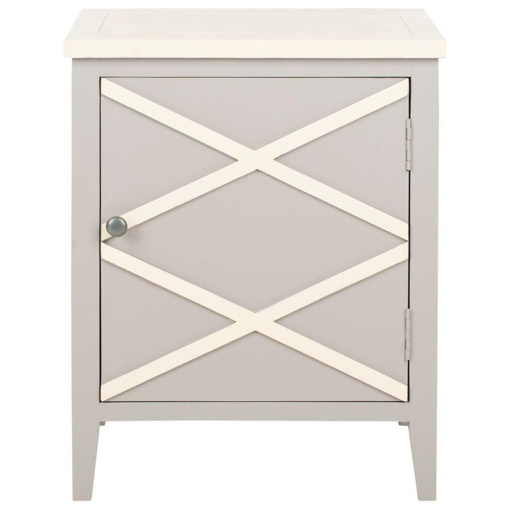 Bernardo Gray and White Storage Side Table