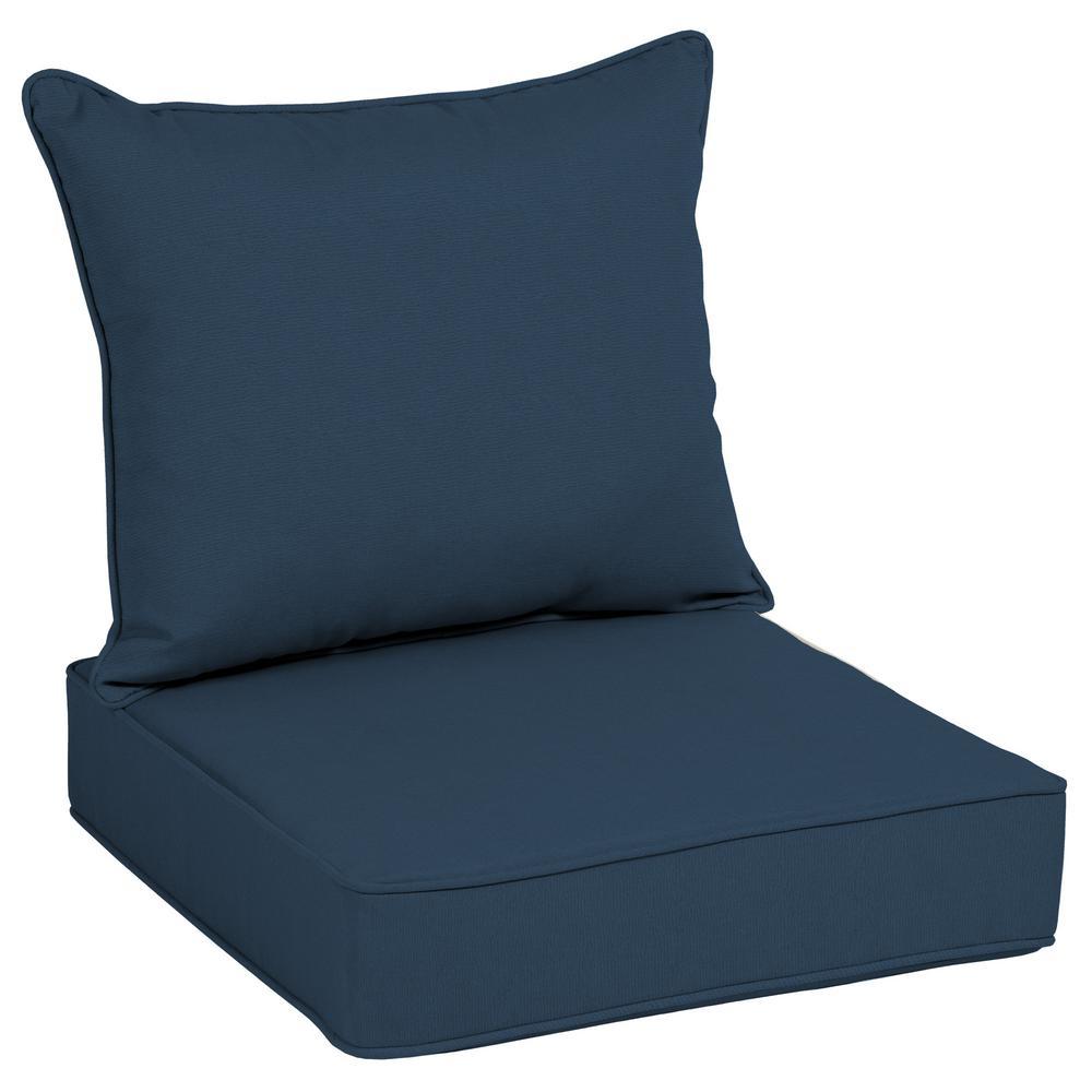 25 in. x 21 in. Acrylic Indigo Linen Outdoor Deep Seat Lounge Cushion Set