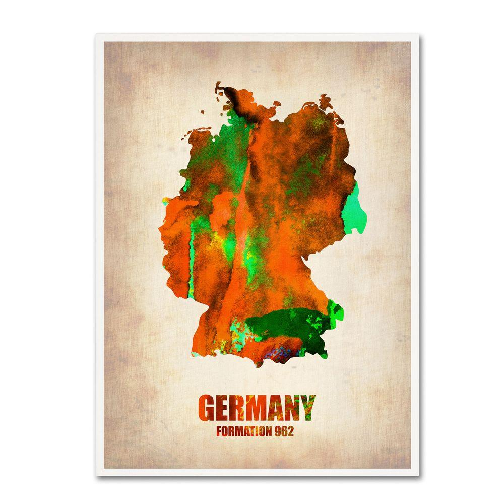 32 in. x 24 in. Germany Watercolor Map Canvas Art
