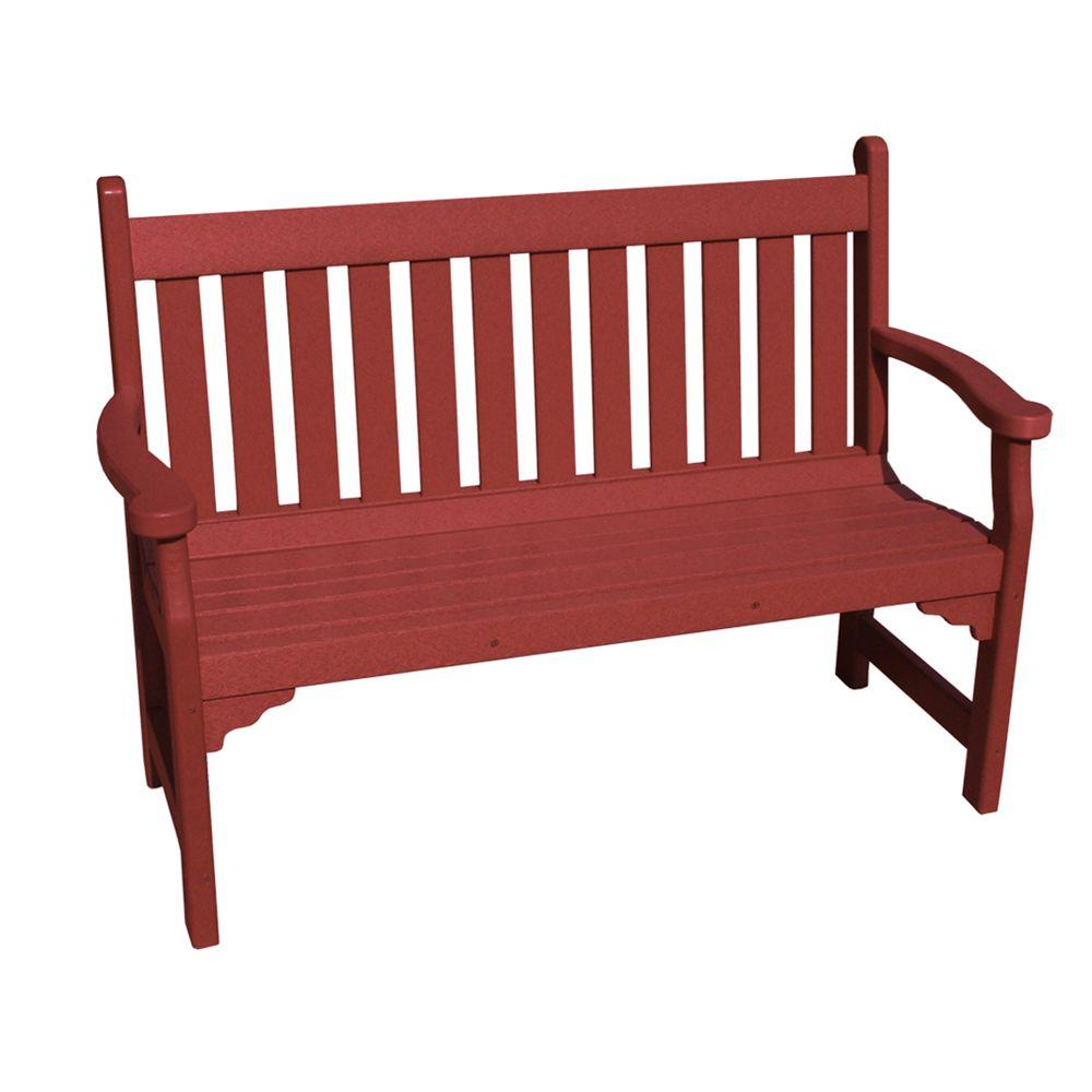 Vifah Roch Recycled Plastic Patio Bench in Burgundy-DISCONTINUED