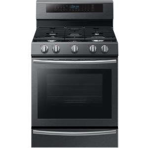 Click here to buy Samsung 30 inch 5.8 cu. ft. Single Oven Gas Range with Self-Cleaning and True Convection Oven in Black Stainless Steel by Samsung.