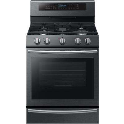 30 in. 5.8 cu. ft. Single Oven Gas Range with Self-Cleaning and True Convection Oven in Black Stainless Steel