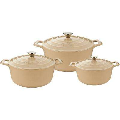 PRO Cast Iron Round Casserole Set with Enamel Finish in Cream (6-Piece)