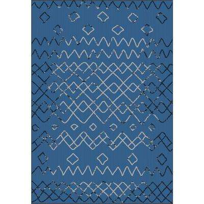 Sunshine Collection Navy 5 ft. x 8 ft. Outdoor Patio Area Rug
