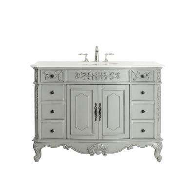 Winslow 48 in. W x 22 in. D Vanity in Antique Gray with Marble Vanity Top in White with White Basin