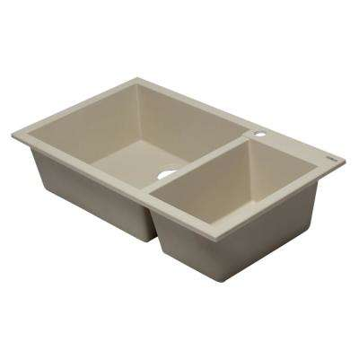 Drop-In Granite Composite 33.88 in. 1-Hole 35/65 Double Bowl Kitchen Sink in Biscuit