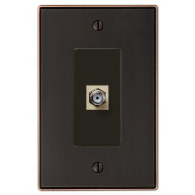 Ansley 1 Gang Coax Metal Wall Plate - Aged Bronze