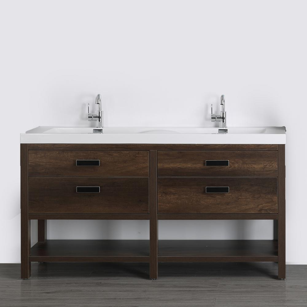 Streamline 63 in. W x 32.4 in. H Bath Vanity in Brown with Resin Vanity Top in White with White Basin