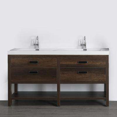 63 in. W x 32.4 in. H Bath Vanity in Brown with Resin Vanity Top in White with White Basin