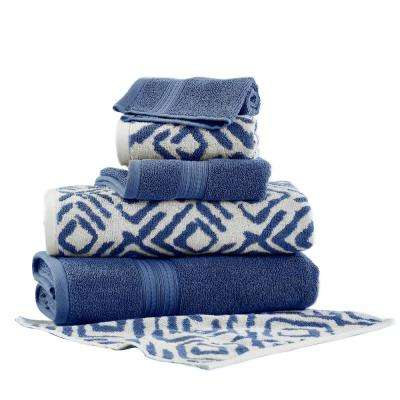 Ikat Diamond 6-Piece Bath Towel Set in Indigo