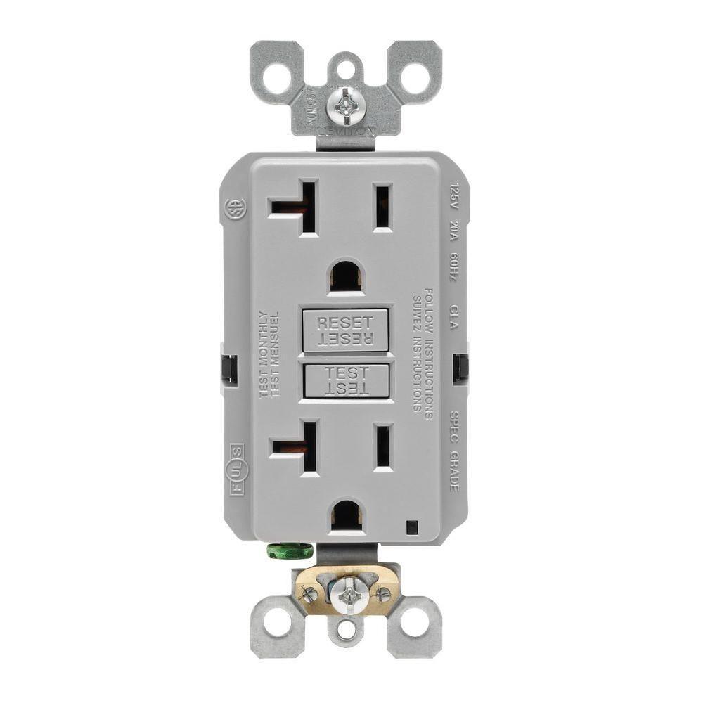 20 Amp Self-Test SmartlockPro Slim Duplex GFCI Outlet, Gray