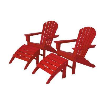 South Beach Sunset Red Plastic Patio Adirondack Chair (2 Pack)