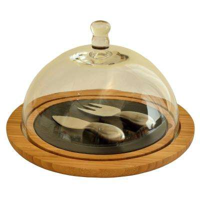 Bamboo/Slate Cheese Dome with Hand-Blown Glass Lid