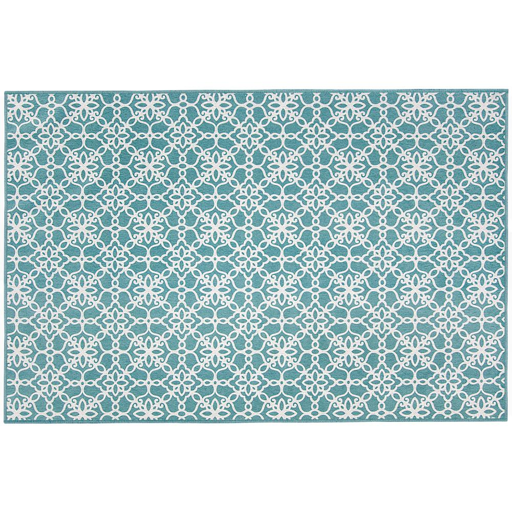 Washable Rugs Home Depot: Ruggable Washable Floral Tiles Aqua Blue 3 Ft. X 5 Ft