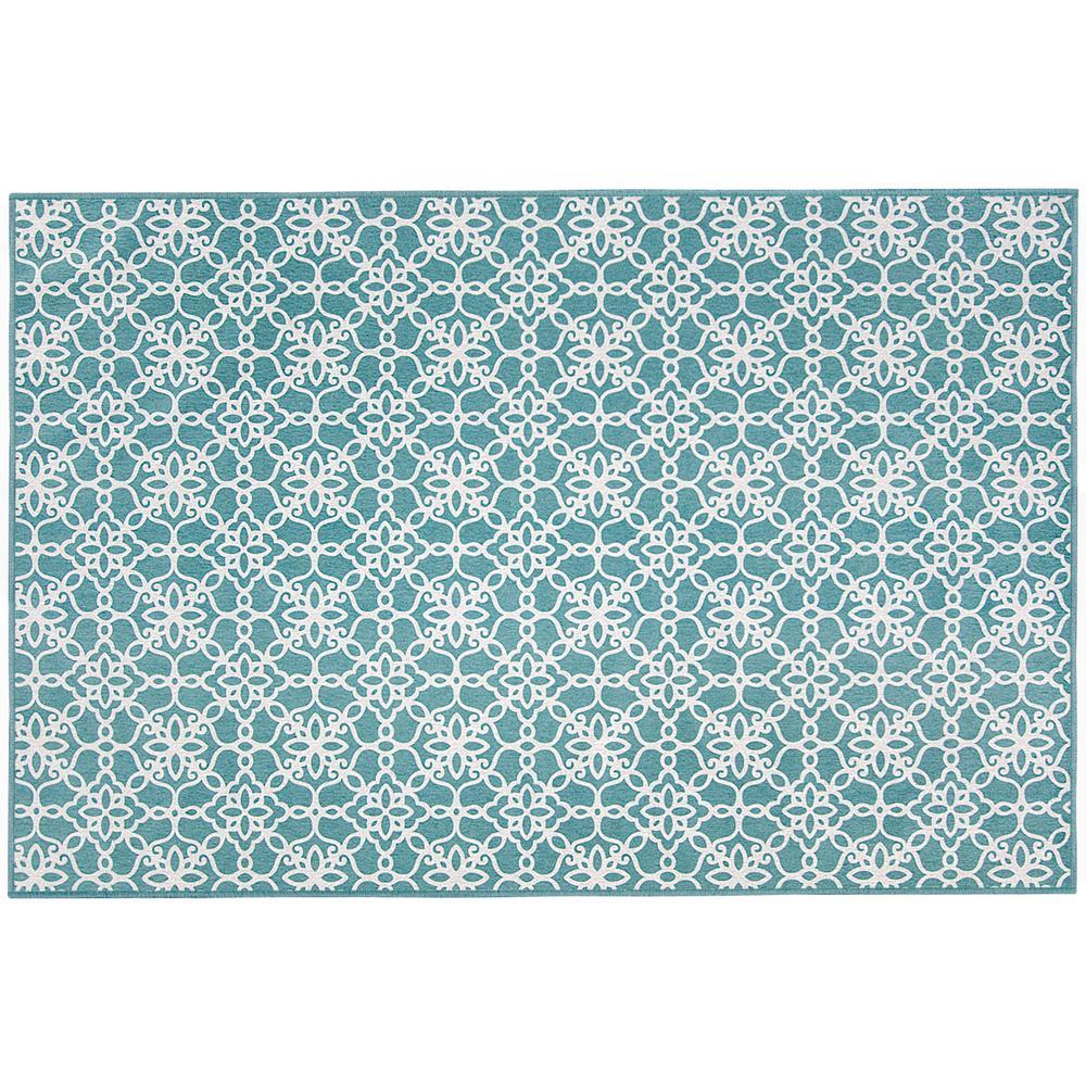 Washable Fl Tiles Aqua Blue 3 Ft X 5 Stain Resistant Accent Rug