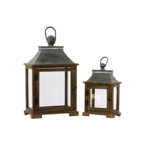 Urban Trends Collection Brown Candle Wooden Decorative Lantern 35102