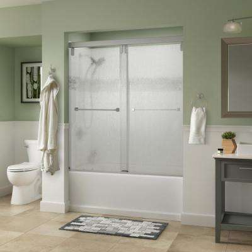 Everly 60 in. x 59-1/4 in. Semi-Frameless Mod Sliding Tub Door in Nickel with 3/8 in. (10mm) Rain Glass
