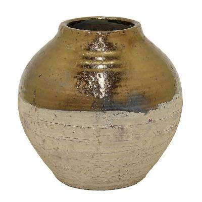 12 in. Gold Ceramic Decorative Vase