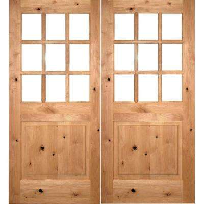 72 in. x 80 in. Craftsman Knotty Alder 9-Lite Clear Glass clear stain Right Active Double Prehung Wood Front Door