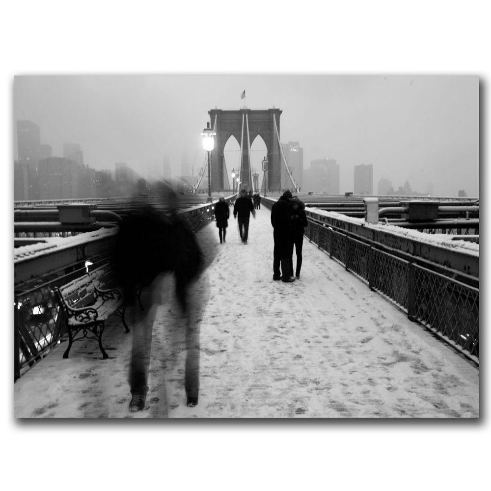 null 30 in. x 47 in. Love on the Brooklyn Bridge Canvas Art