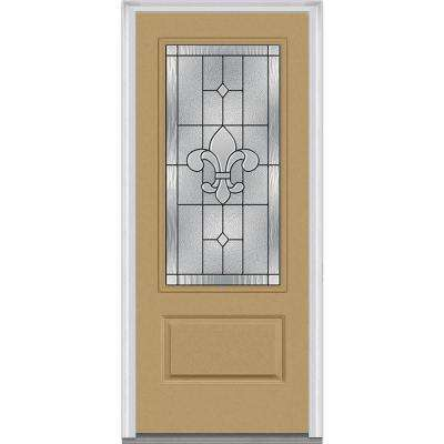 36 in. x 80 in. Carrollton Right-Hand Inswing 3/4-Lite Decorative 1-Panel Painted Fiberglass Smooth Prehung Front Door