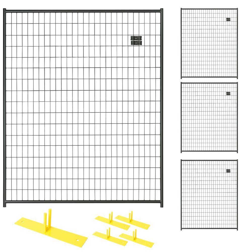 Perimeter Patrol 6 ft. x 20 ft. 4-Panel Black Powder-Coated Welded ...