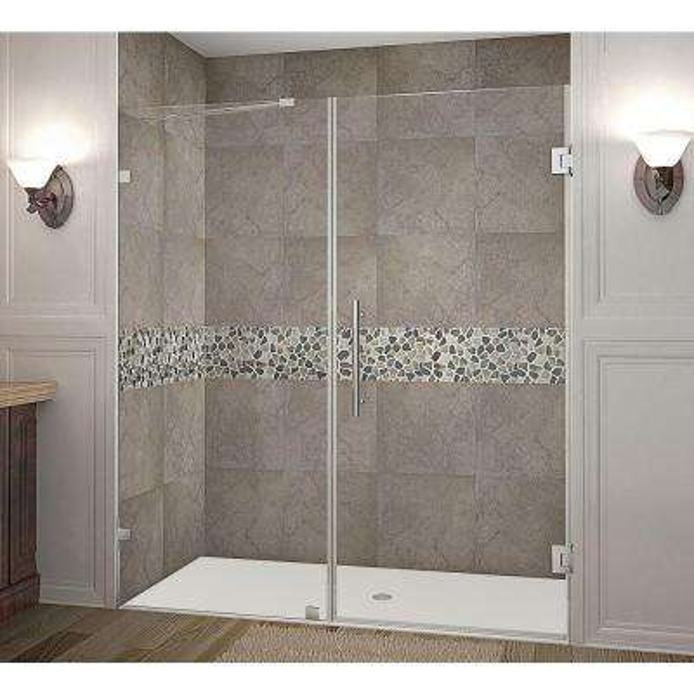Nautis 70 in. x 72 in. Completely Frameless Hinged Shower Door in Stainless Steel