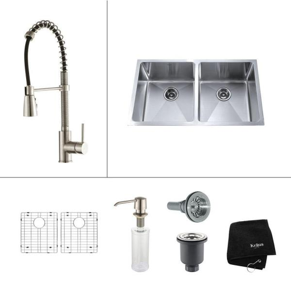All-in-One Undermount Stainless Steel 33 in. Double Bowl Kitchen Sink with Faucet and Accessories in Stainless Steel