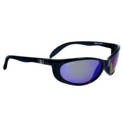 Black Frame Smoker Sunglasses with Green Mirror Lenses