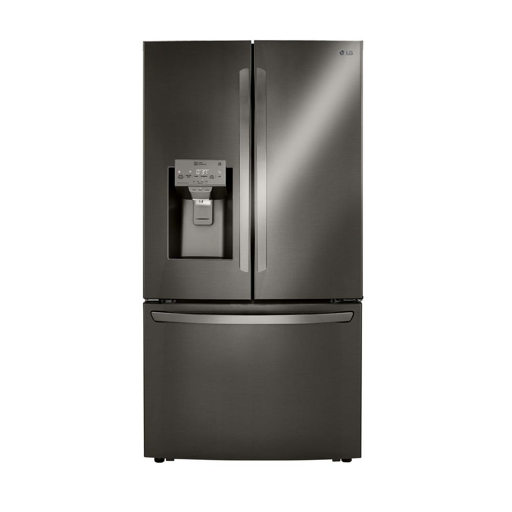 LG Electronics 23.5 cu. ft. Smart French Door Refrigerator, Dual Ice with Craft Ice in PrintProof Black Stainless Steel, Counter Depth