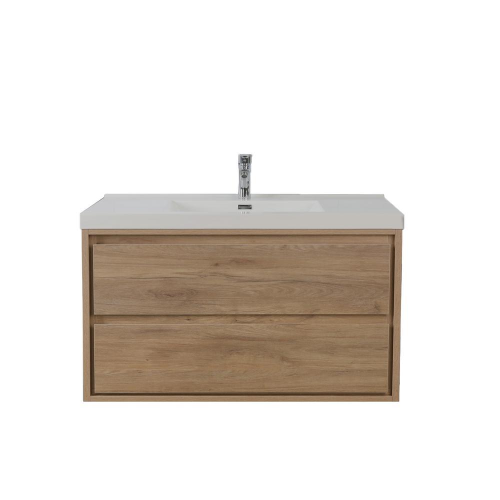 Sage 42 in. W Vanity in White Oak with Reinforced Acrylic Vanity Top in White with White Basin