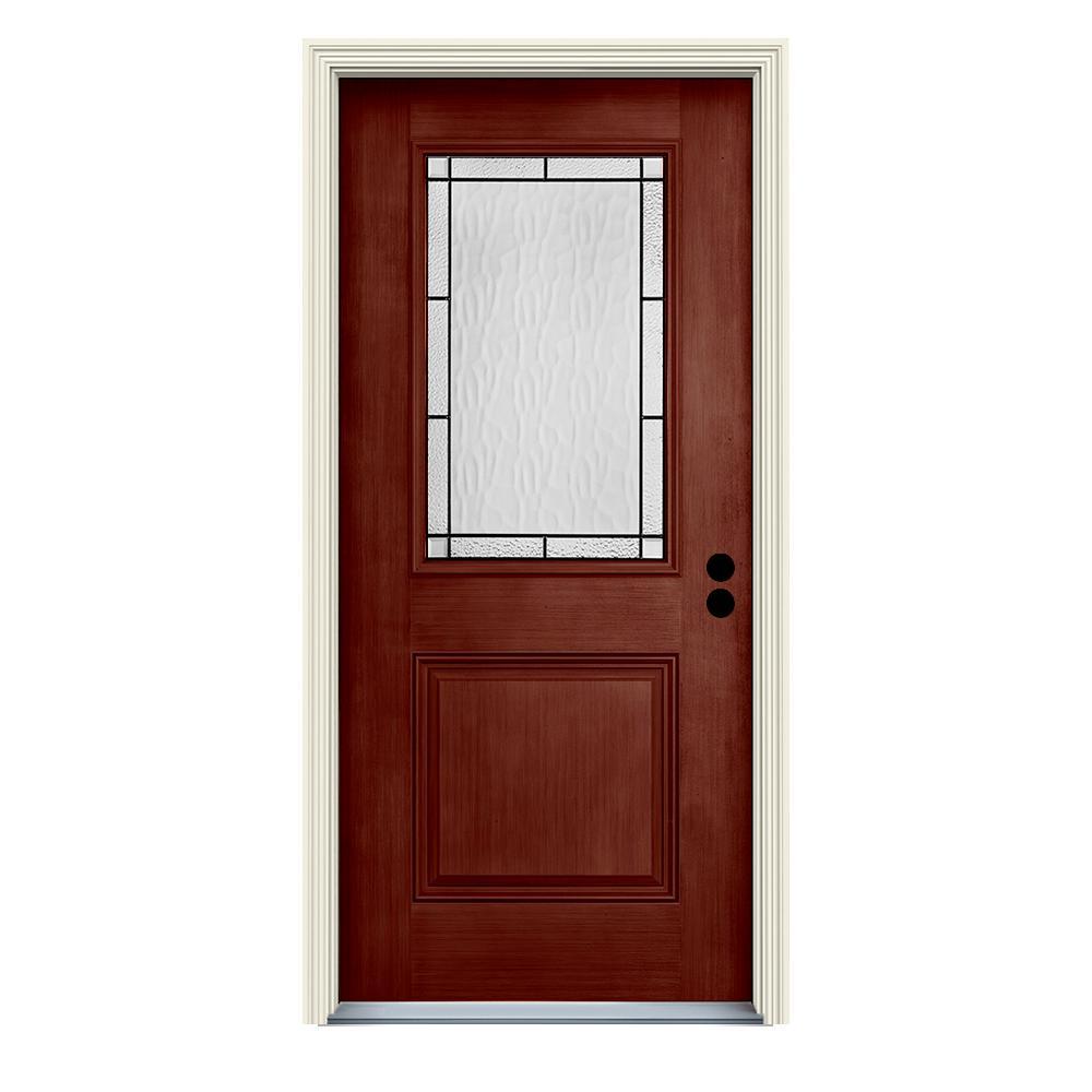 Jeld wen 36 in x 80 in left hand 1 2 lite wendover black - Jeld wen fiberglass exterior doors ...