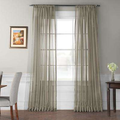 Doublewide Solid Museum Grey Voile Poly Sheer - 100 in. W x 108 in. L