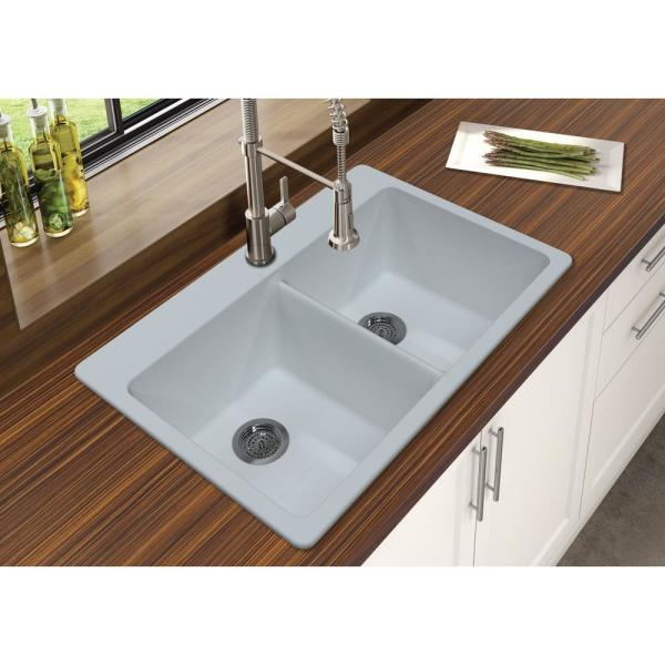 Winpro Dual Mount Granite Composite 33 In L X 22 In L X 9 5 In 0 5 Faucet Holes Double Equal Bowl Kitchen Sink In White Wgdwh503 The Home Depot