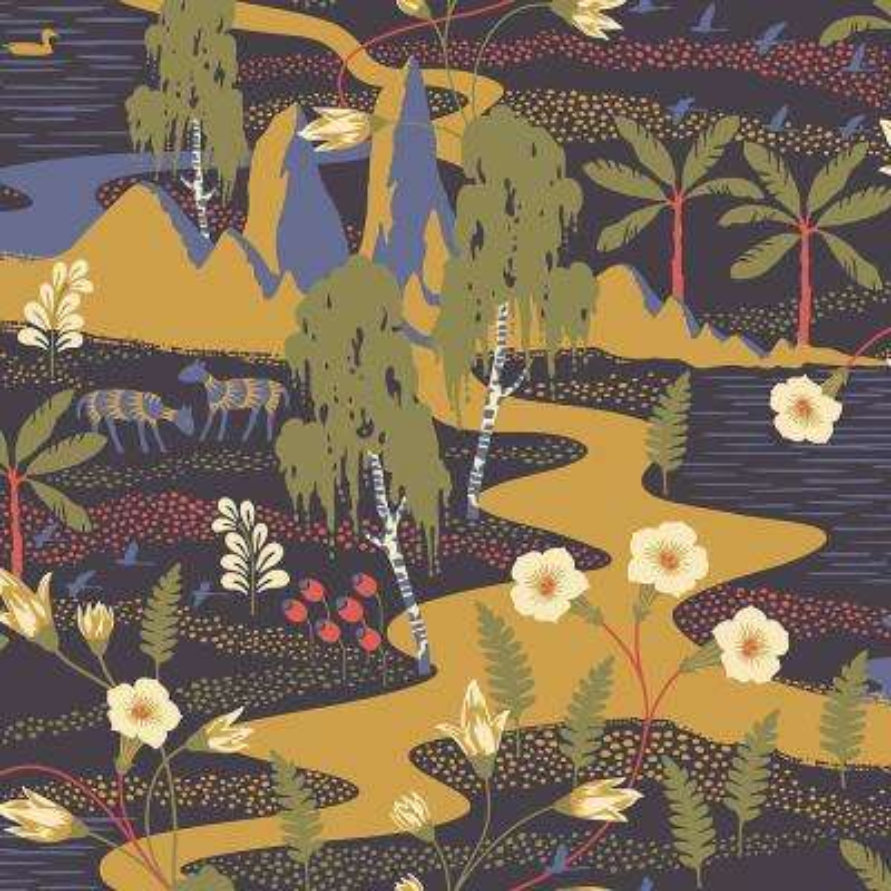 8 in. x 10 in. Magisk Navy Oasis Wallpaper Sample
