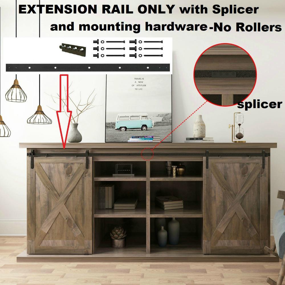 Sliding Door System between Rail Extension 45cm or 90cm Matt Black