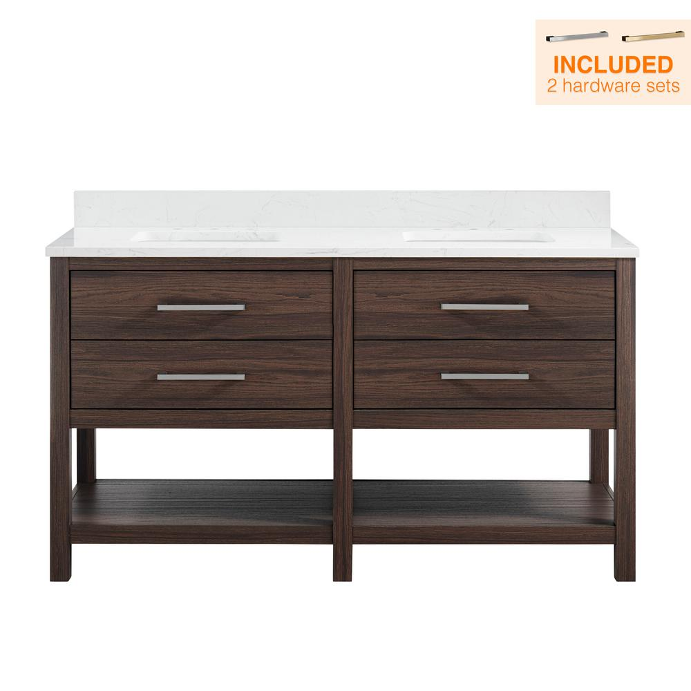 60 in. W x 22 in. D Double Vanity in Coffee Oak with Engineered Vanity Top in Carrara with White Basin