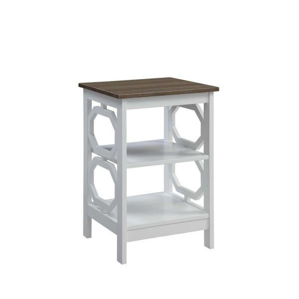 Omega Driftwood Top with White Frame End Table
