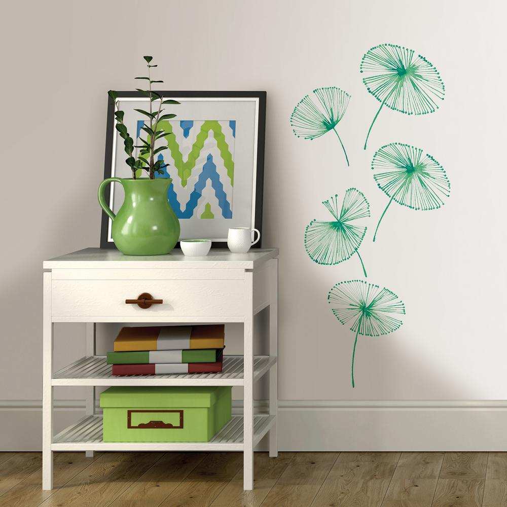 Wallpops Green Watercolor Fronds Wall Art Kit
